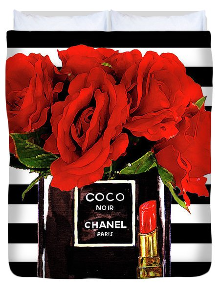 Chanel Perfume With Red Roses Duvet Cover