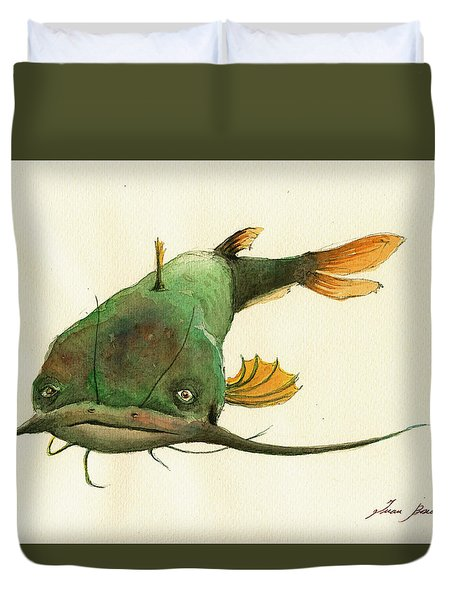 Channel Catfish Fish Animal Watercolor Painting Duvet Cover by Juan  Bosco