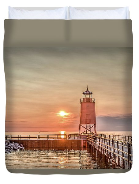 Charelvoix Lighthouse In Charlevoix, Michigan Duvet Cover