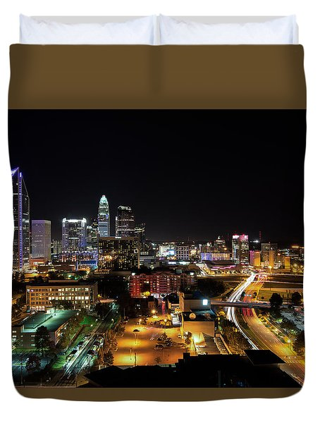 Duvet Cover featuring the photograph Charlotte Skyline by Serge Skiba