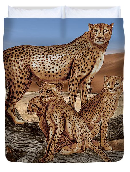 Cheetah Family Tree Duvet Cover by Peter Piatt