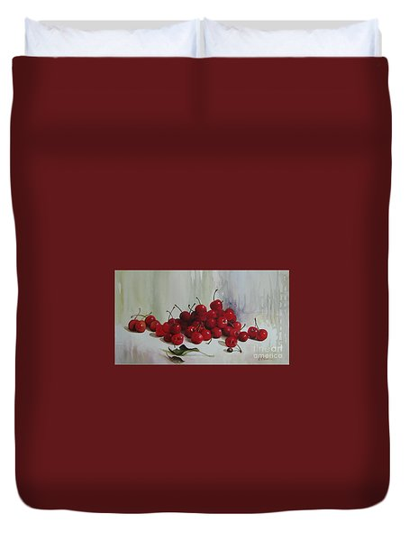 Duvet Cover featuring the painting Cherries by Elena Oleniuc