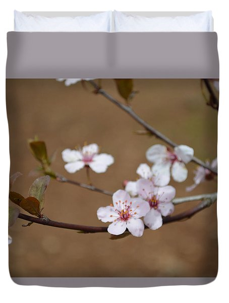 Duvet Cover featuring the photograph Cherry Blossoms by Linda Geiger