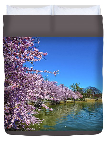 Duvet Cover featuring the photograph Cherry Blossoms by Mitch Cat