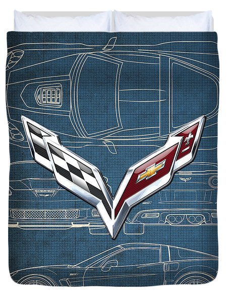 Chevrolet Corvette 3 D Badge Over Corvette C 6 Z R 1 Blueprint Duvet Cover by Serge Averbukh