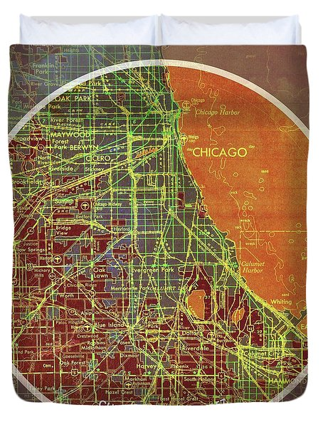 Chicago 1957 Old Map, Chicago Frank Lloyd Wright Quote Duvet Cover