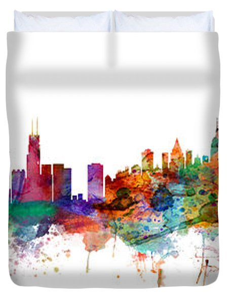 Chicago And New York City Skylines Mashup Duvet Cover