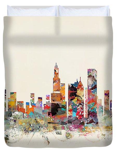 Chicago City Skyline Duvet Cover by Bri B