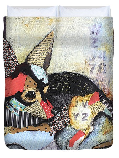 Duvet Cover featuring the mixed media Chihuahua by Patricia Lintner