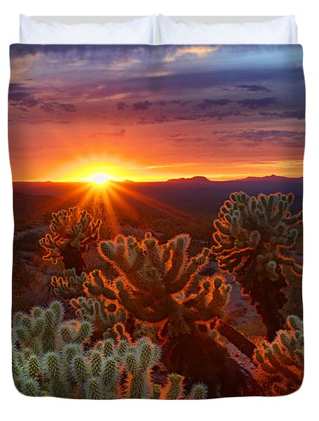 Cholla Sunset  Duvet Cover