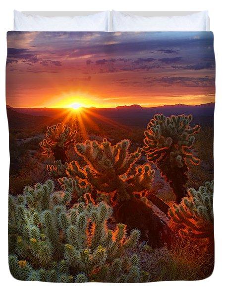 Cholla Sunset  Duvet Cover