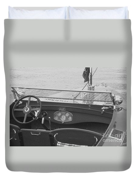 Runabout On Pewaukee Duvet Cover