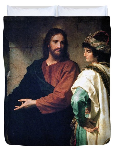 Christ And The Rich Young Ruler Duvet Cover