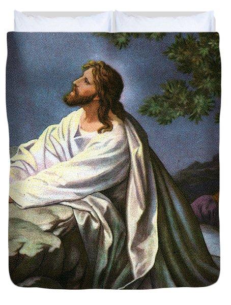 Christ In The Garden Of Gethsemane Duvet Cover