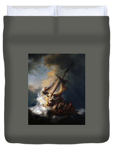 Christ In The Storm On The Lake Of Galilee Duvet Cover