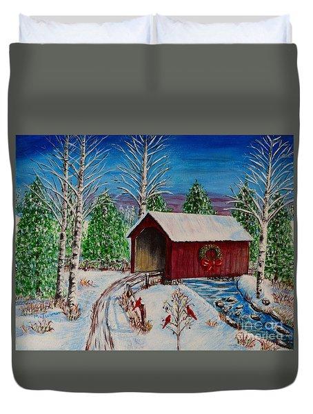 Christmas Bridge Duvet Cover by Melvin Turner