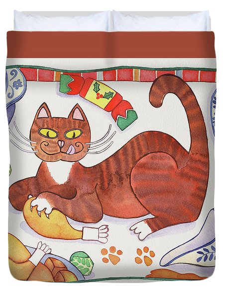 Christmas Cat And The Turkey Duvet Cover