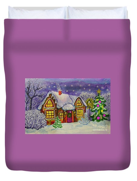 Christmas House, Painting Duvet Cover