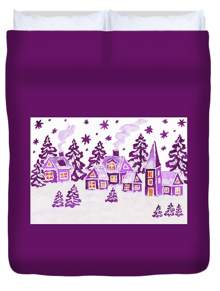 Christmas Picture In Raspberry Pink Colours Duvet Cover