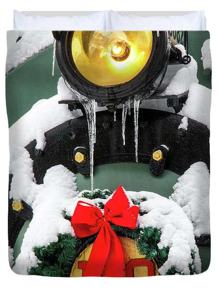 Christmas Train At Pacific Junction Duvet Cover