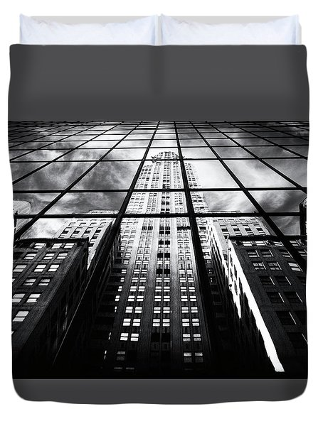 Duvet Cover featuring the photograph Chrysler Reflections by Jessica Jenney