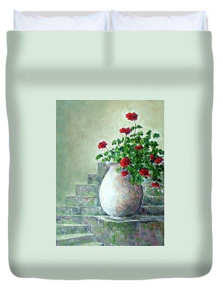 Cinque Terre Geraniums Duvet Cover