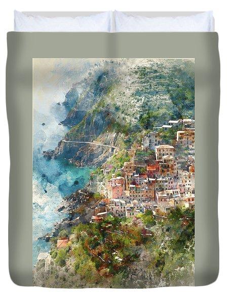 Cinque Terre In Italy Duvet Cover