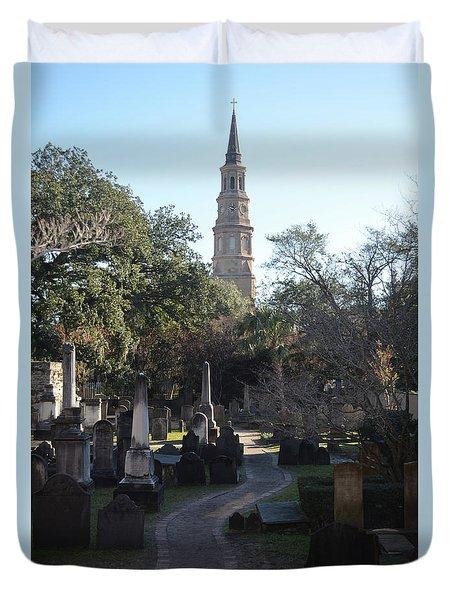 Circular Congregational Graveyard 3 Duvet Cover by Gordon Mooneyhan