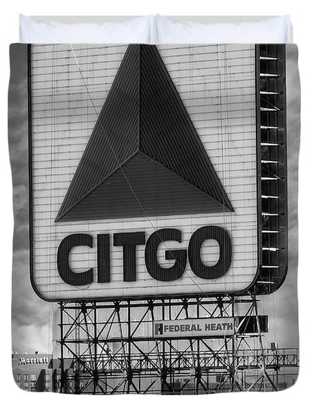 Duvet Cover featuring the photograph Citgo Sign Kenmore Square Boston by Susan Candelario