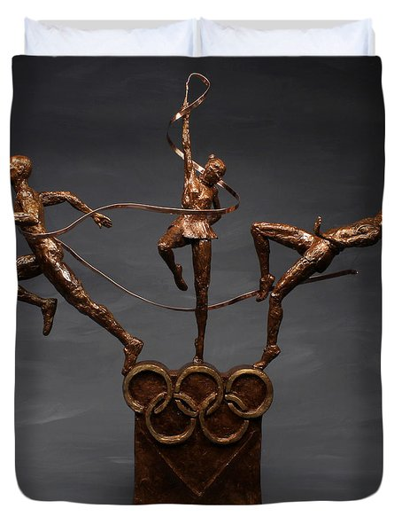 Citius Altius Fortius Olympic Art On Gray Duvet Cover by Adam Long