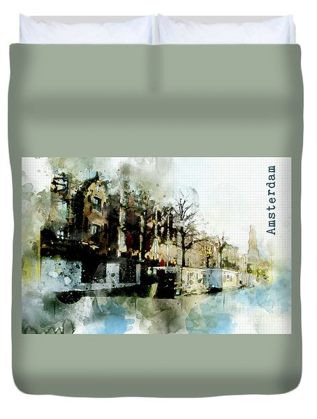 City Life In Watercolor Style Duvet Cover