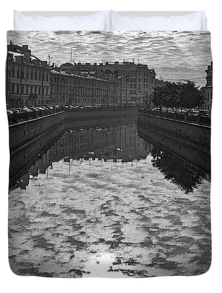 City Reflected In The Water Channels Duvet Cover