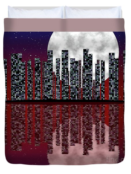 City Skyline At Full Mooncity Skyline With Fullmoon Duvet Cover by Michal Boubin