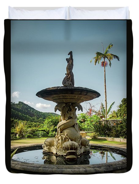 Duvet Cover featuring the photograph Classic Fountain by Carlos Caetano