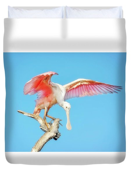 Spoonbill Cleared For Takeoff Duvet Cover