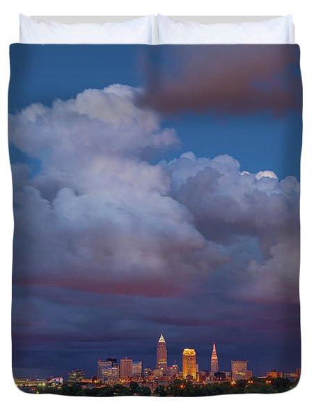 Duvet Cover featuring the photograph Cleveland Skyline  by Emmanuel Panagiotakis