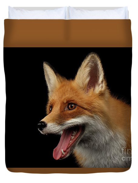 Closeup Portrait Of Smiled Red Fox Isolated On Black  Duvet Cover by Sergey Taran