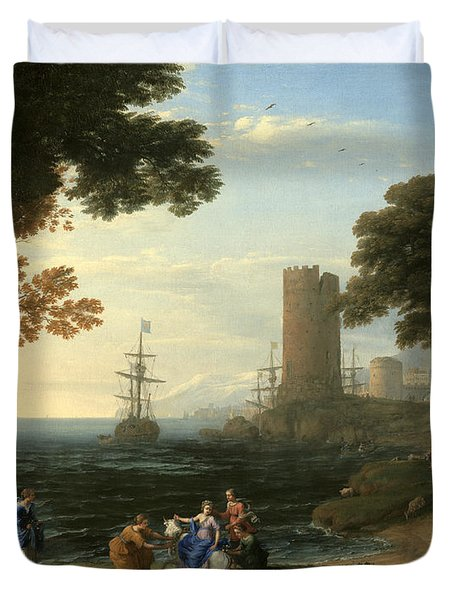 Coast View With The Abduction Of Europa Duvet Cover