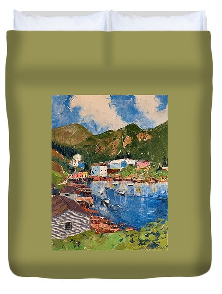 Coastal Village, Newfoundland Duvet Cover