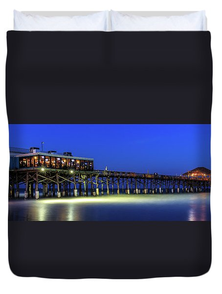 Cocoa Beach Pier At Twilight Duvet Cover
