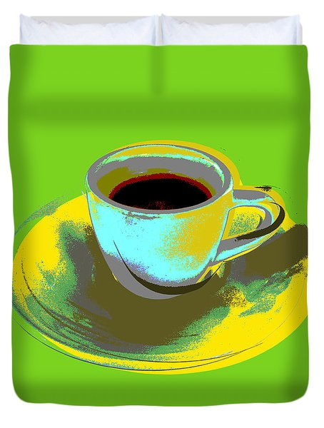 Duvet Cover featuring the digital art Coffee Cup Pop Art by Jean luc Comperat