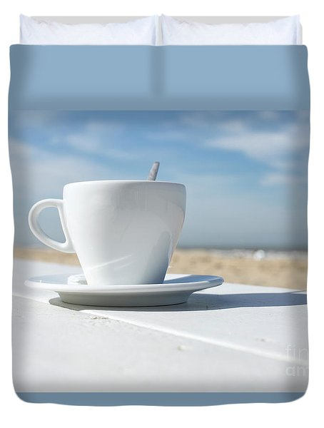 Duvet Cover featuring the photograph Coffee On The Beach by Patricia Hofmeester