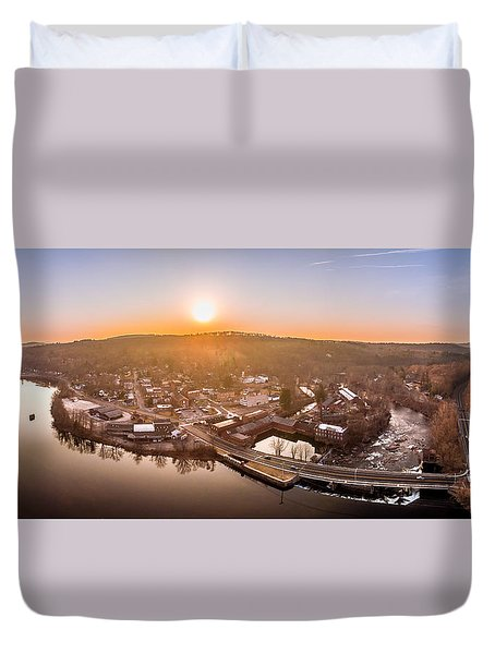 Colinsville, Connecticut Sunrise Panorama Duvet Cover