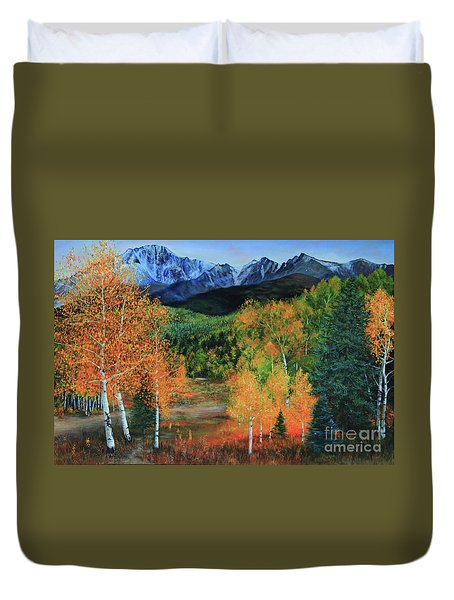 Duvet Cover featuring the painting Colorado Aspens by Jeanette French