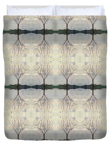 Colorado Cottonwood Tree Mirror Image  Duvet Cover