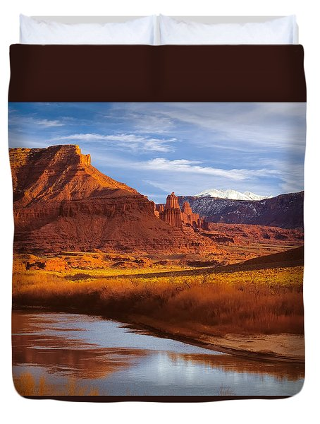 Colorado River At Fisher Towers Duvet Cover