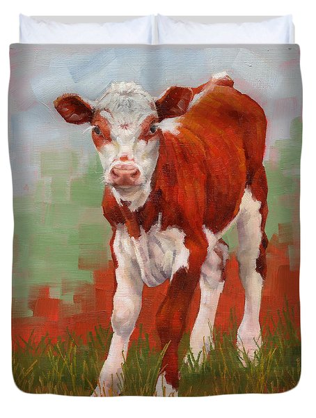 Duvet Cover featuring the painting Colorful Calf by Margaret Stockdale