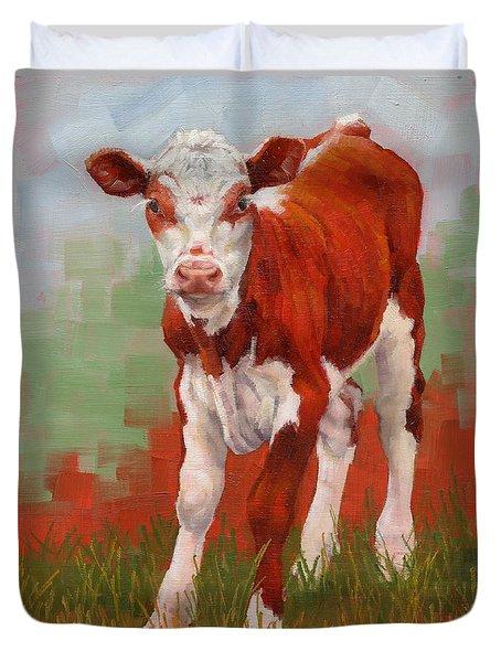 Colorful Calf Duvet Cover by Margaret Stockdale