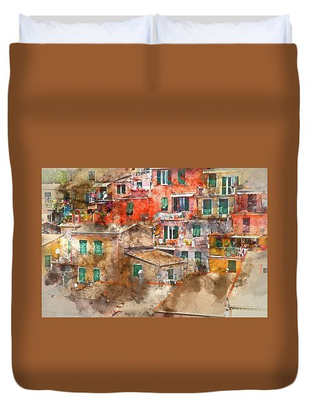 Colorful Homes In Cinque Terre Italy Duvet Cover
