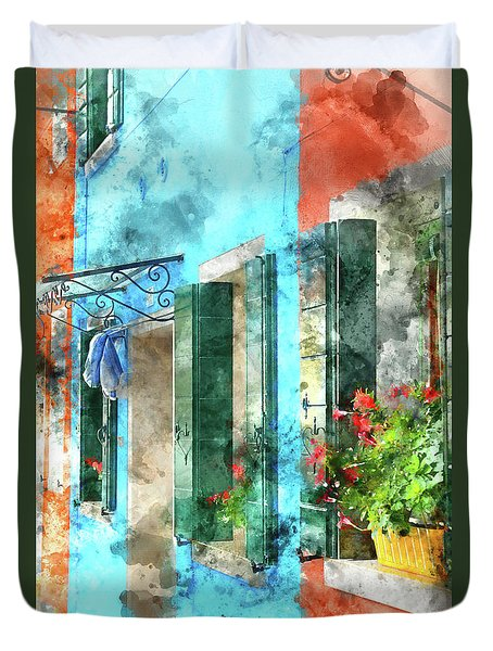 Colorful Houses In Burano Island Venice Italy Duvet Cover